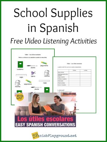 Use these school supply in Spanish listening activities with the short video conversation.