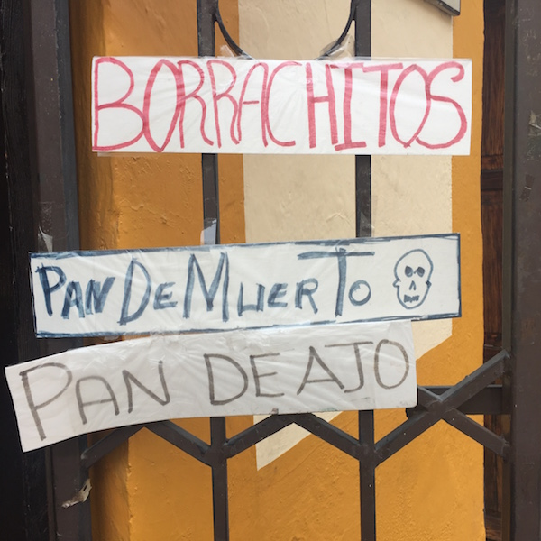 As Día de los Muertos approaches, bakeries are advertising pan de muerto.