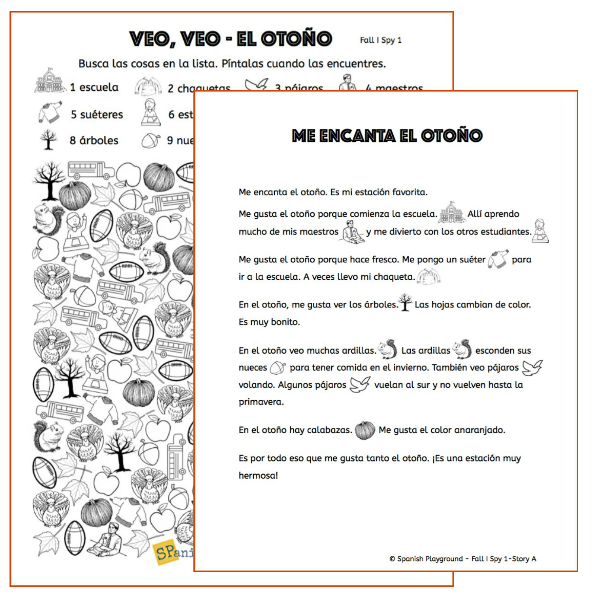 Use these games and readings to learn Spanish fall words.