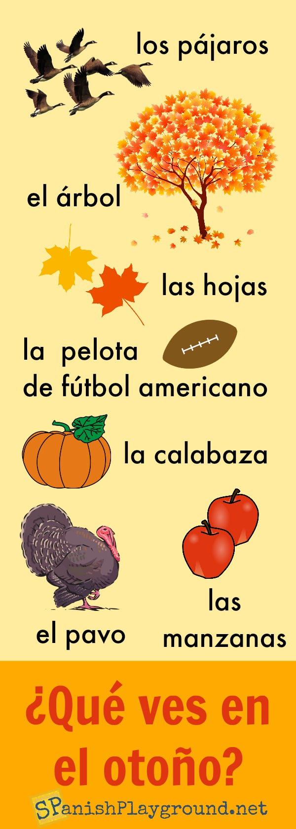This infographic has 8 common Spanish fall words and pictures.