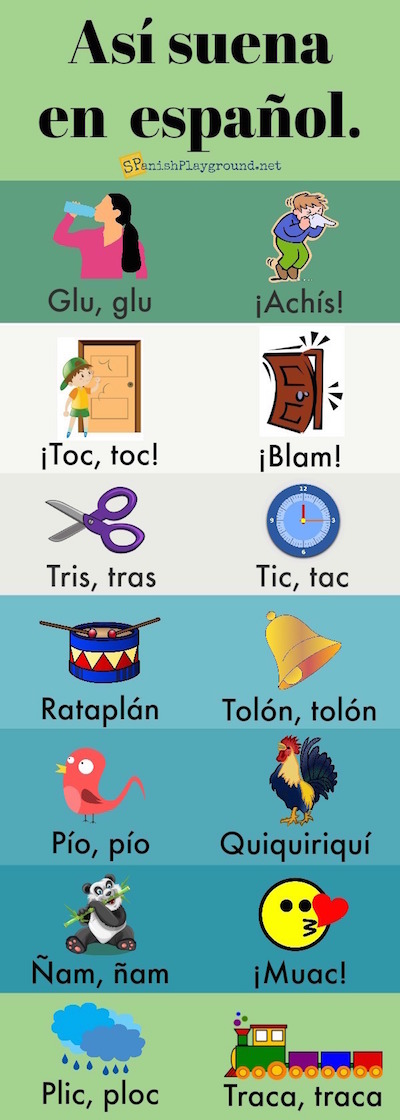 Use sounds to teach vocabulary with the pictures on this infographic.