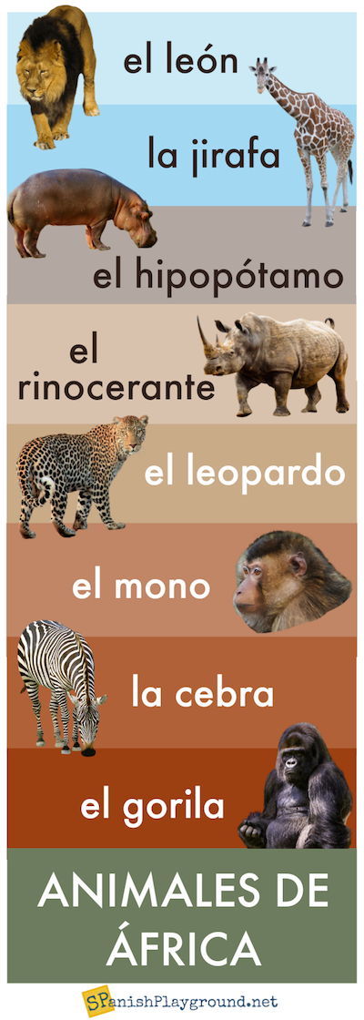 African animals with text and pictures for language learners.