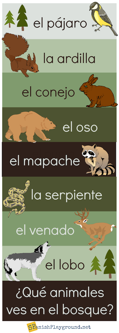 Spanish forest animals are easy to learn with this infographic.