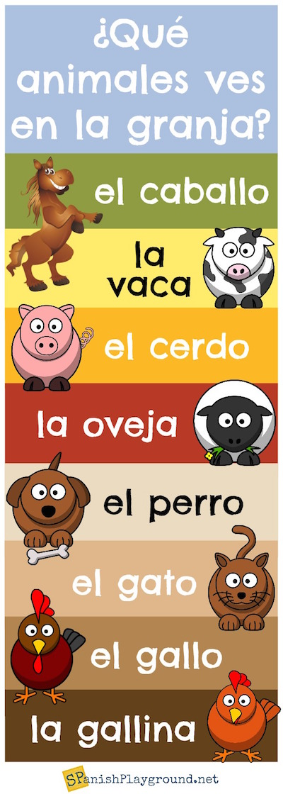 Learn farm animals in Spanish with this infographic.