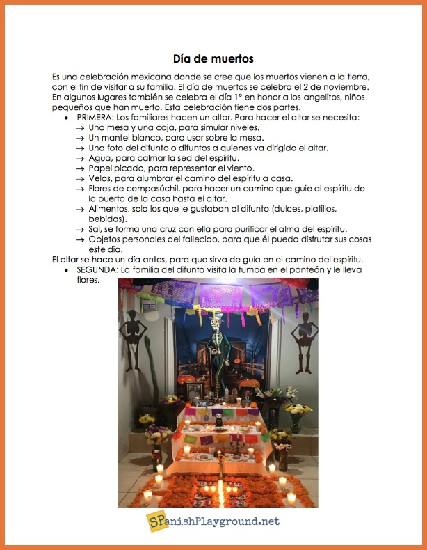 This Día de los Muertos printable introduces students to the tradition of building an altar.