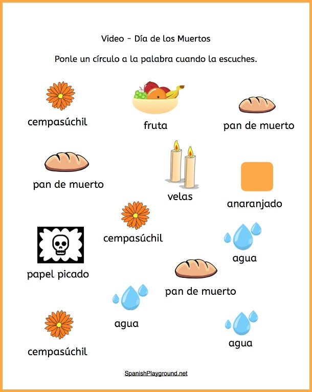 Use these Día de los muertos video activities with the Spanish Playground Day of the Dead video.
