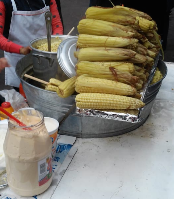 The corn sold in the Jardín de la Unión in Guanajuato is a delcious late night snack.