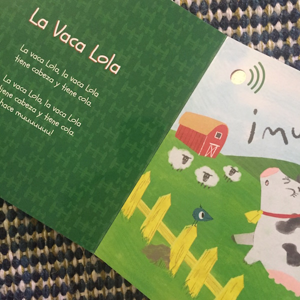 This book of Spanish animal songs has music built into the pages.