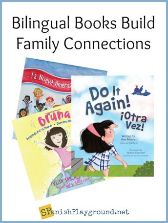 The image of three covers show bilingual books that focus on family.