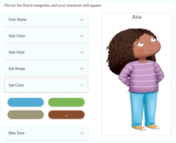 These are the options for customizing a child character in the bilingual personalized book.