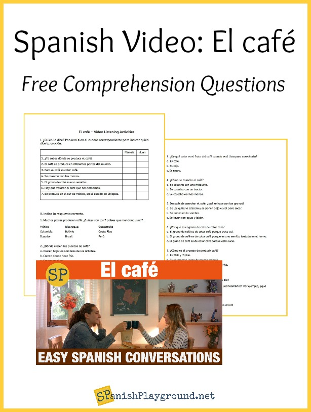 This image from the video about coffee in Spanish shows the characters in the conversation.