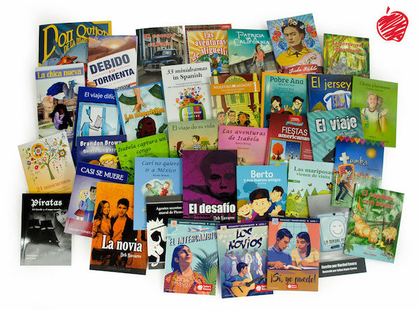 These books are examples of high-interest titles to use for Free Voluntary Reading in Spanish class.