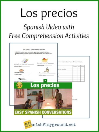 These printable activities based on the video help students learn prices in Spanish.
