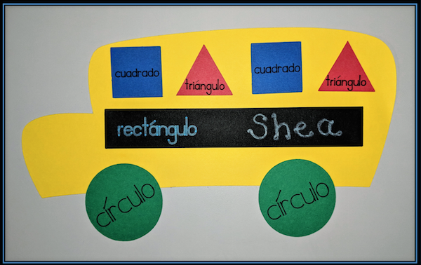 This shape bus is a craft students make Spanish classes for kids from Language University.