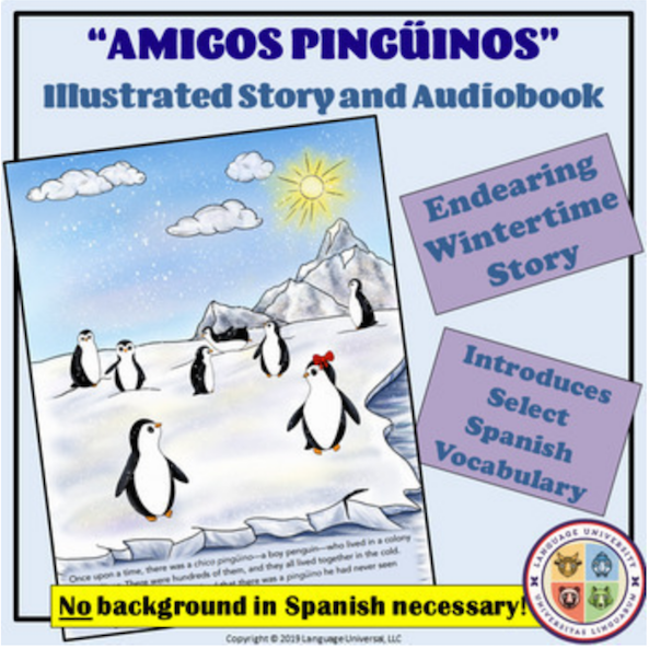 This penguin lesson for kids is an examples of the material taught in Spanish classes from Language University.