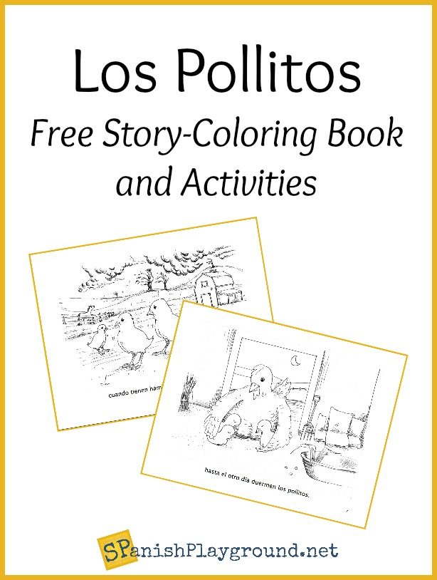 The los pollitos lyrics in a printable picture book for kids learning Spanish.