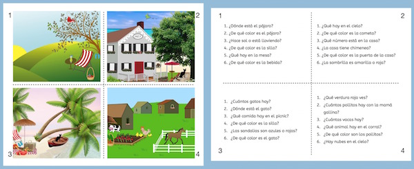 These pictures and questions are part of the Spanish memory game.