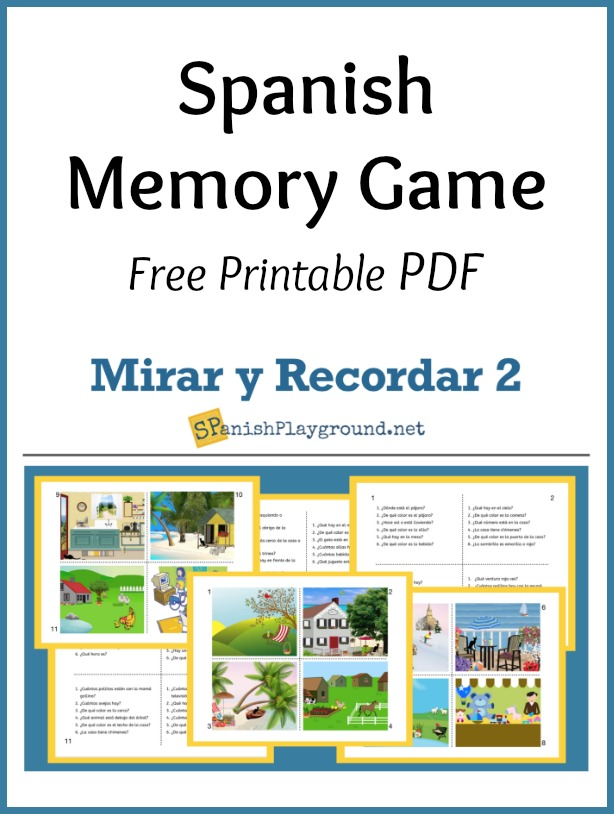 These pictures are part of the printable Spanish memory game.