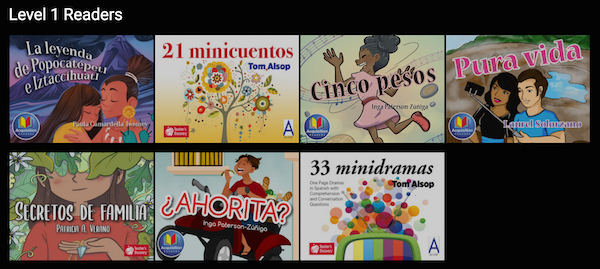 These are the covers of the Level 1 Spanish readers online from Flangoo.