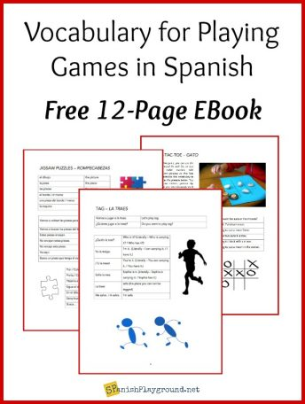 These pages show the vocabulary in the ebook about playing games in Spanish.