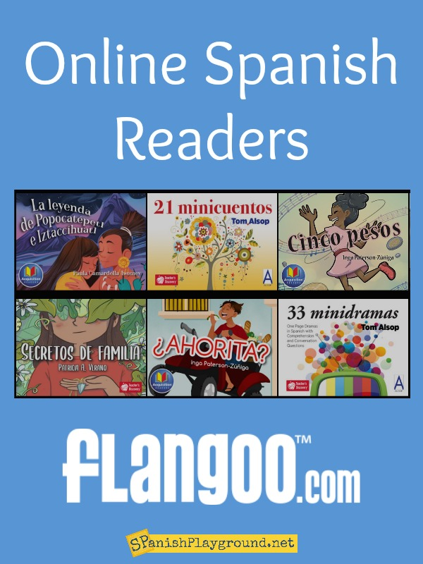 Cover images of Spanish readers online for remote learning.
