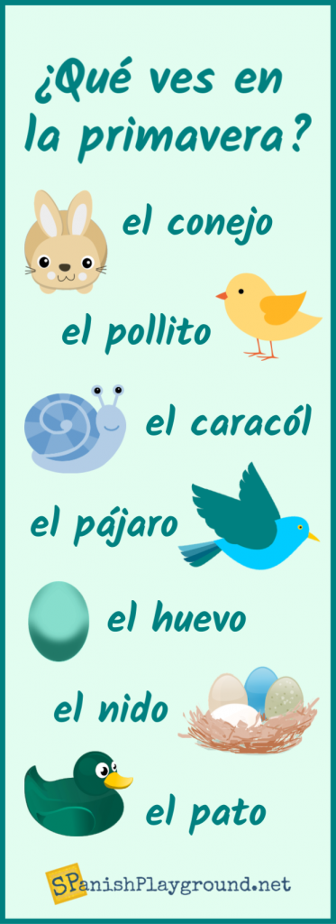 Spanish spring vocabulary related to animals in an infographic for language learners.
