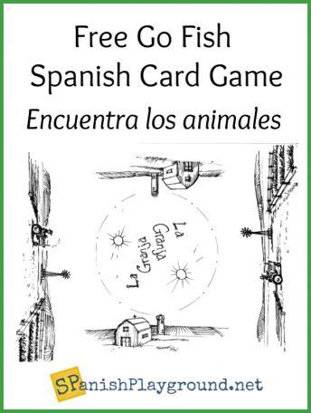 Shows the board for the go fish spanish card game