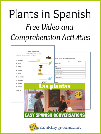 Shows the exercises and a sceen from the video to teach Spanish plant vocabulary.