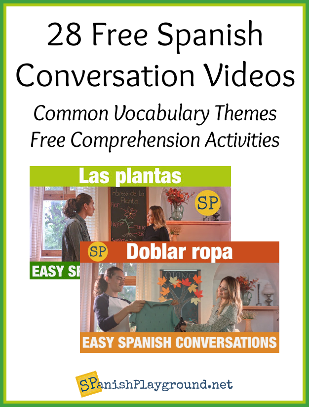 Images of two scenes from Spanish conversation videos.