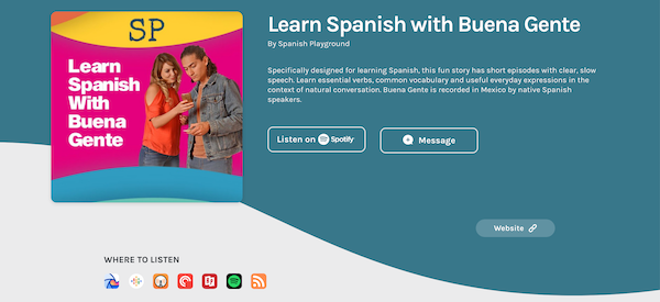 Image of platform icons where users can find the Buena Gente podcast to learn Spanish.