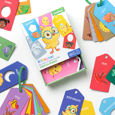 Image of Spanish gift of stroller cards with shapes and colors.