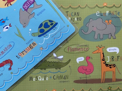 These bilingual placemats make excellent Spanish language gifts for kids.