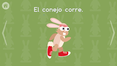 Image of Spanish language game with short sentences for kids.