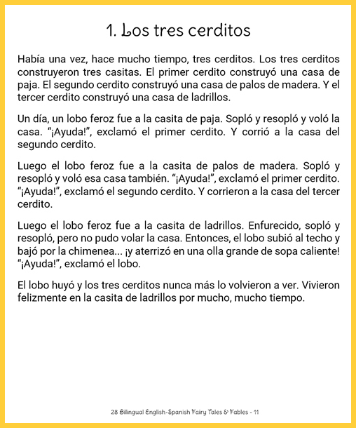 Image of a short, easy version of Spanish fairy tales that works with language learners.
