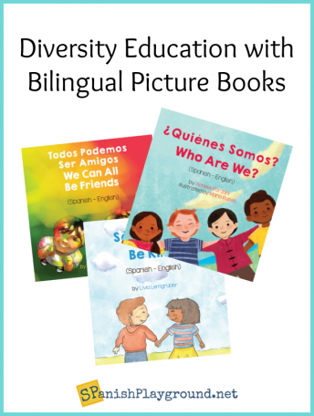 Image of diversity education picture books for Spanish language learners.