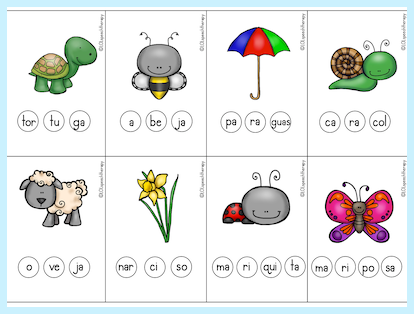 Image of illustrations on free spring printable for syllable work in Spanish.