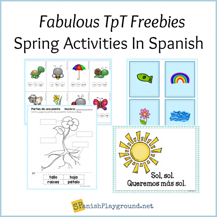 Image of vocabulary pictures in free spring printables in Spanish.