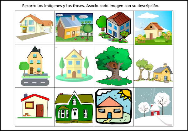 Pictures from the picture-text match for beginner Spanish reading practice.