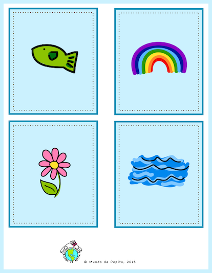 Image of pictures on free spring printable Memory game in Spanish including fish, rainbow, flower and water.