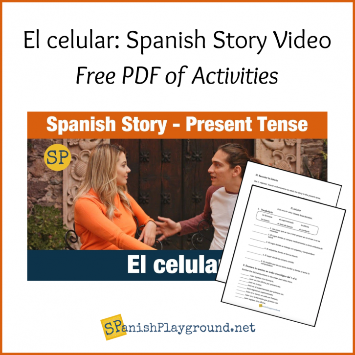 Image of the actors in a scene from the present tense Spanish story video.