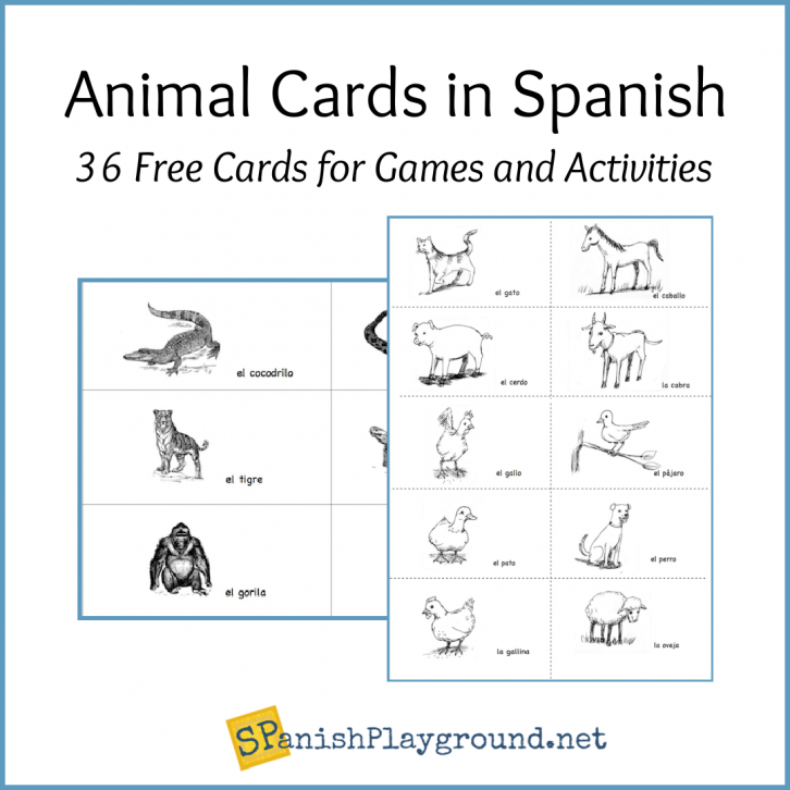 Image of Spanish animal cards in the free download.