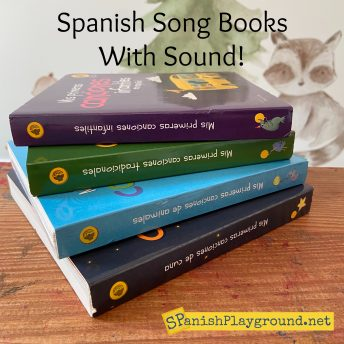 Image of covers of Spanish song books with sound for children.