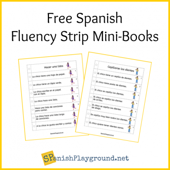 Image of two pages of Spanish fluency strips for elementary language learners.