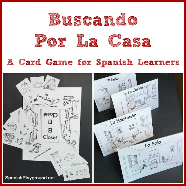 A printable Spanish card game for kids to practice house vocabulary.